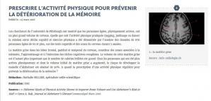 Memoire et activite physique