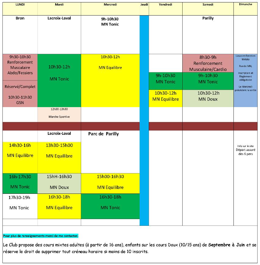 Planning Géneral des Activités 2021-2022